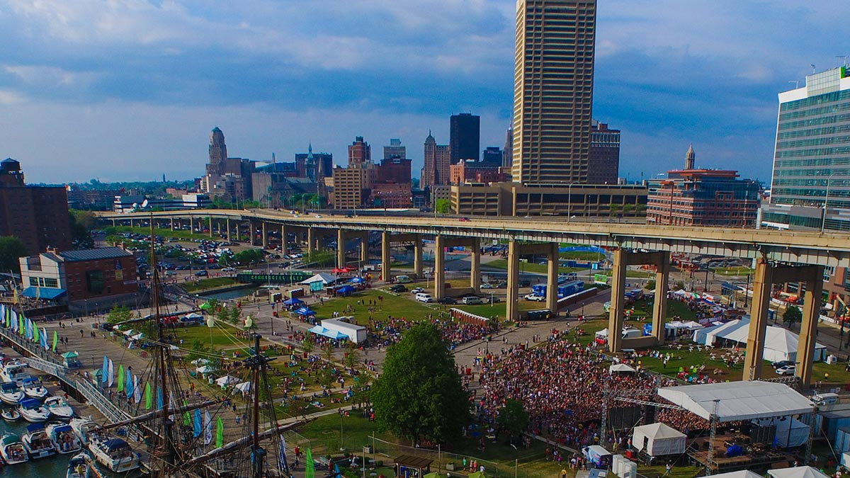 aerial view of the downtown Buffalo Canal
